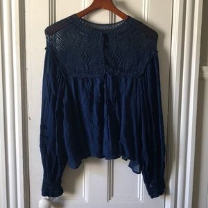 Free People Navy Blue Lace Blouse